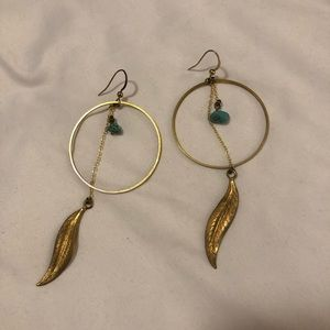 Brushed Gold + Turquoise Earrings